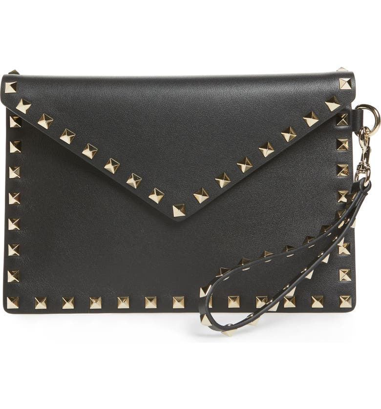 VALENTINO GARAVANI Medium Rockstud Calfskin Leather Pouch, Main, color, 001