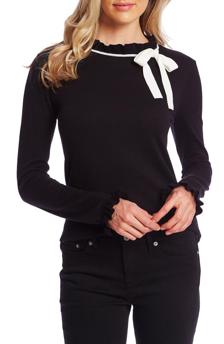 CECE Ruffle Bow Neck Sweater, Main, color, RICH BLACK