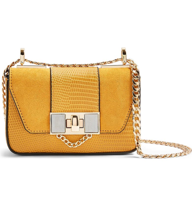 TOPSHOP Spice Faux Leather Crossbody Bag, Main, color, MUSTARD