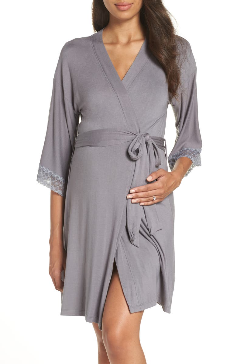 BELABUMBUM 'Eva' Maternity Robe, Main, color, GREY
