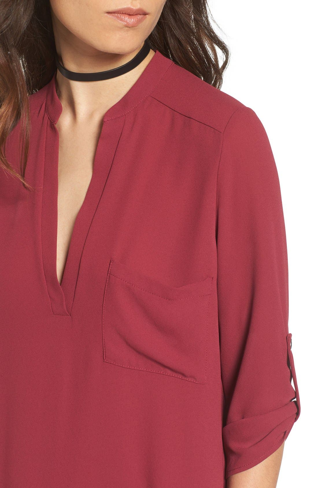 ,                             Perfect Roll Tab Sleeve Tunic,                             Alternate thumbnail 340, color,                             602