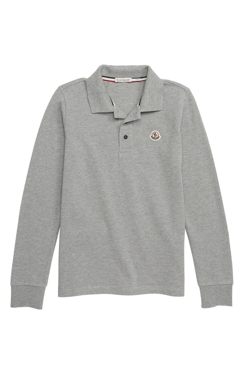 MONCLER Logo Collar Polo, Main, color, 980 GREY