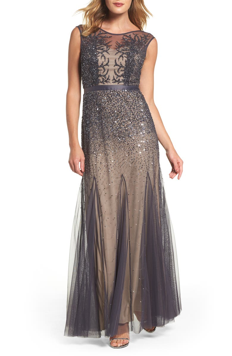 ADRIANNA PAPELL Beaded Chiffon Gown, Main, color, 020