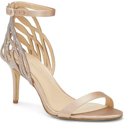 Imagine Vince Camuto Pharra Crystal Ankle Strap Sandal, Beige
