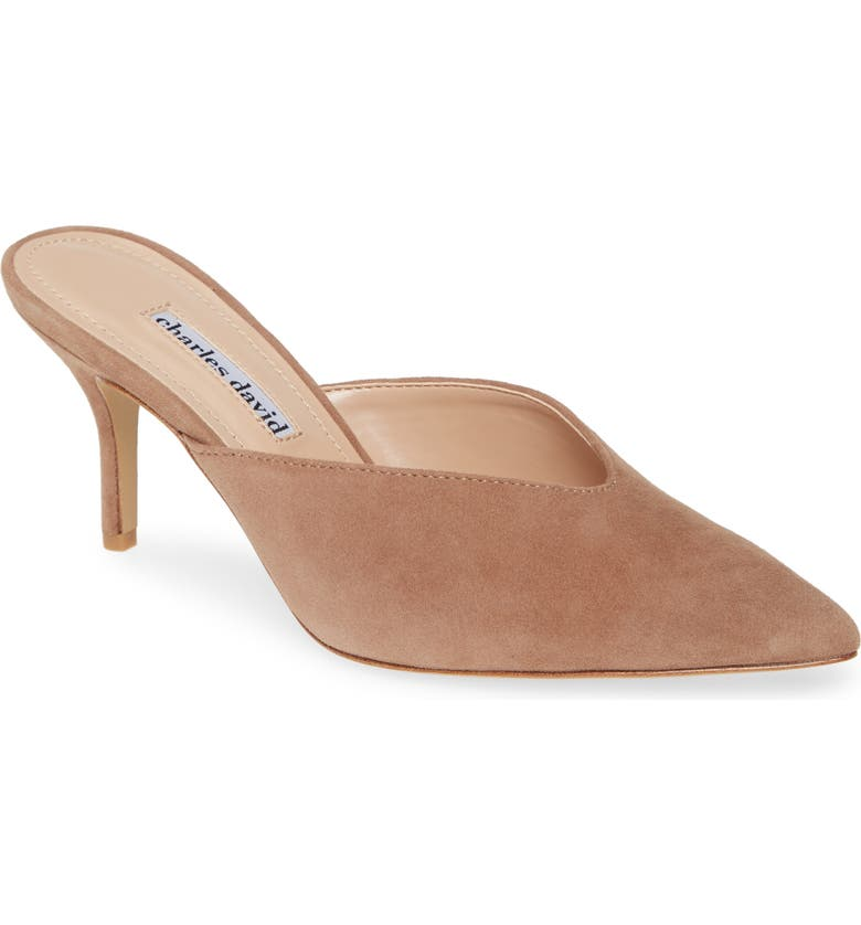 CHARLES DAVID Askan Mule, Main, color, BLUSH NUDE SUEDE