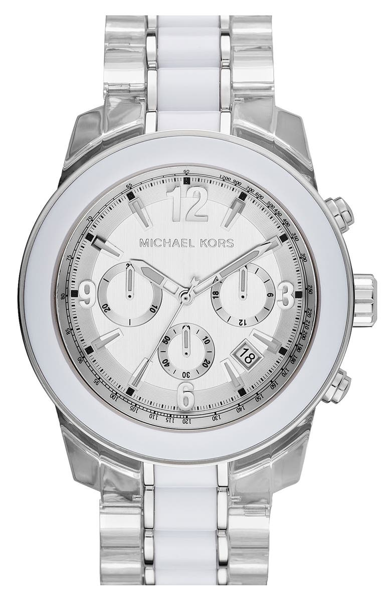 MICHAEL MICHAEL KORS Michael Kors 'Preston' Two Tone Chronograph Bracelet Watch, 45mm, Main, color, 100
