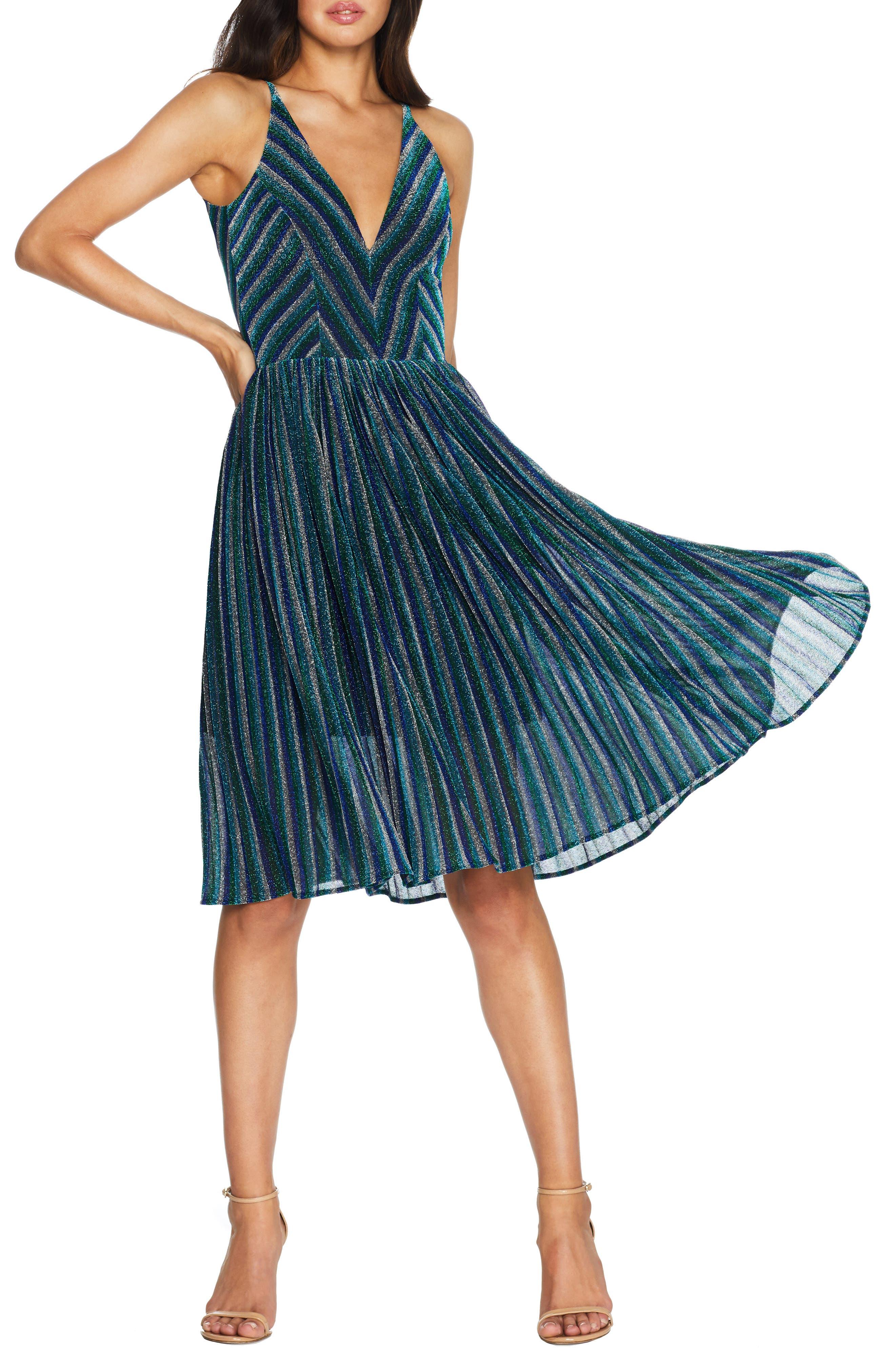 70s Dresses – Disco Dress, Hippie Dress, Wrap Dress Womens Dress The Population Haley Metallic Stripe V-Neck Cocktail Dress Size Medium - Blue $248.00 AT vintagedancer.com