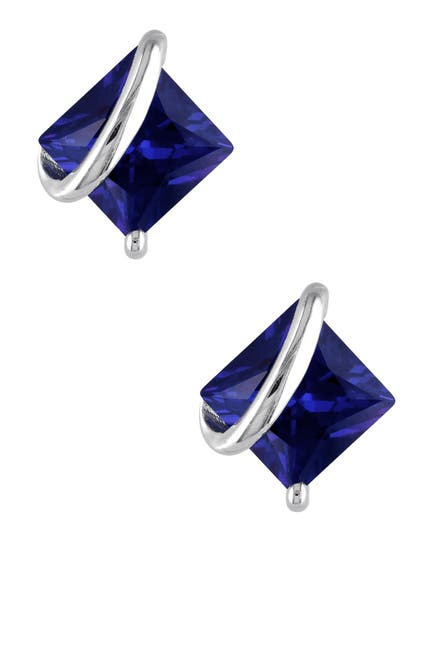 Image of Delmar Sterling Silver Wrapped Created Blue Sapphire Earrings