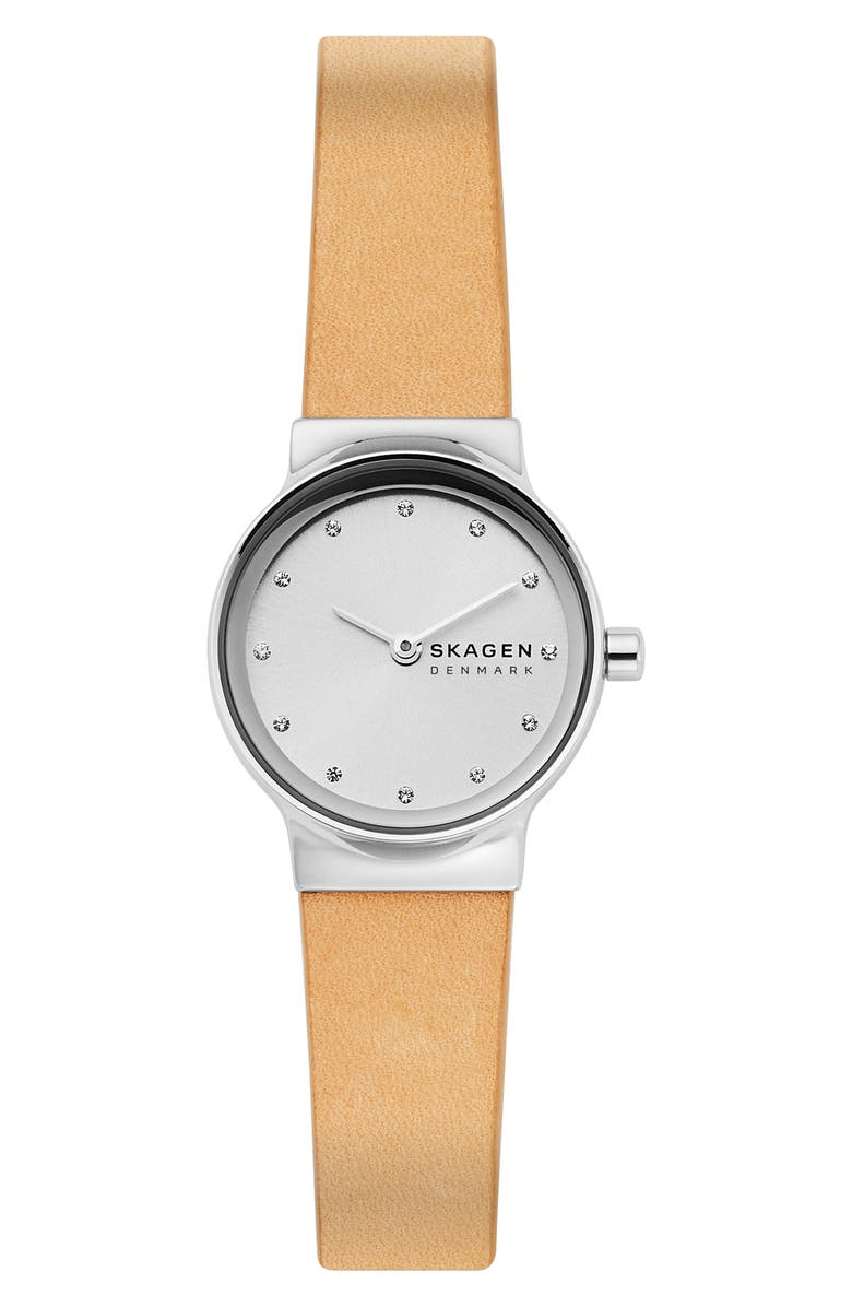 SKAGEN Freja Crystal Accent Leather Strap Watch, 26mm, Main, color, YELLOW/ WHITE/ SILVER
