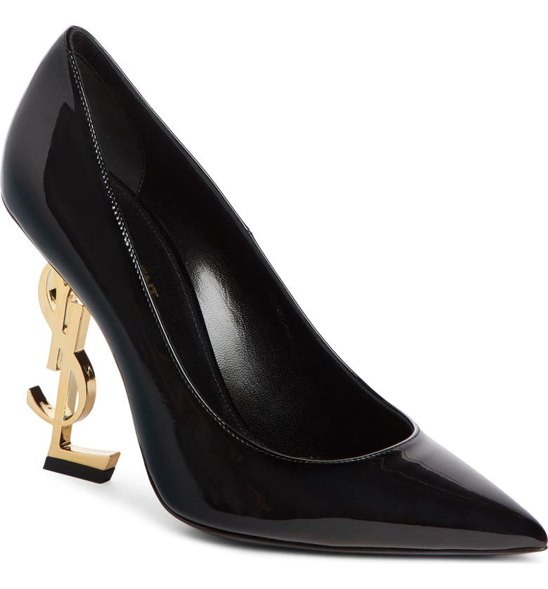 SAINT LAURENT Opyum YSL Pointy Toe Pump, Main, color, BLACK PATENT/ ANTIQUE GOLD