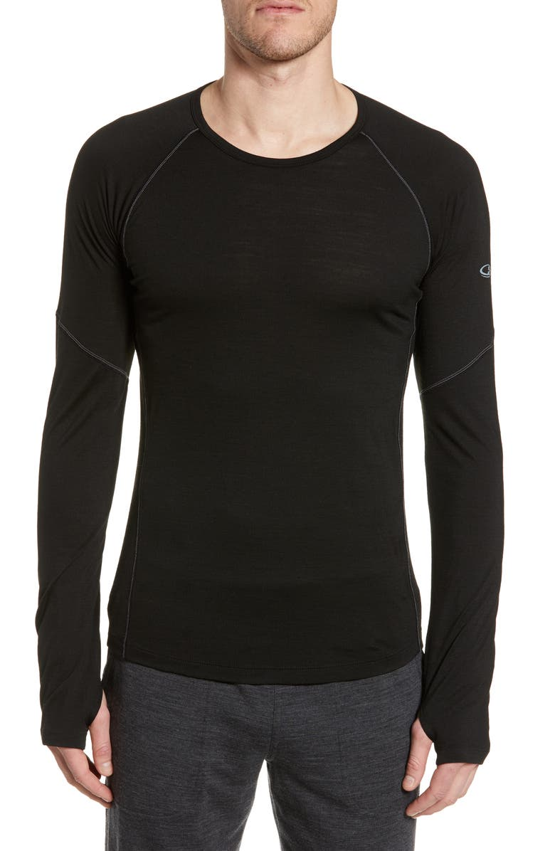 ICEBREAKER Bodyfitzone<sup>™</sup> 150 Zone Long Sleeve Top, Main, color, BLACK/MINERAL