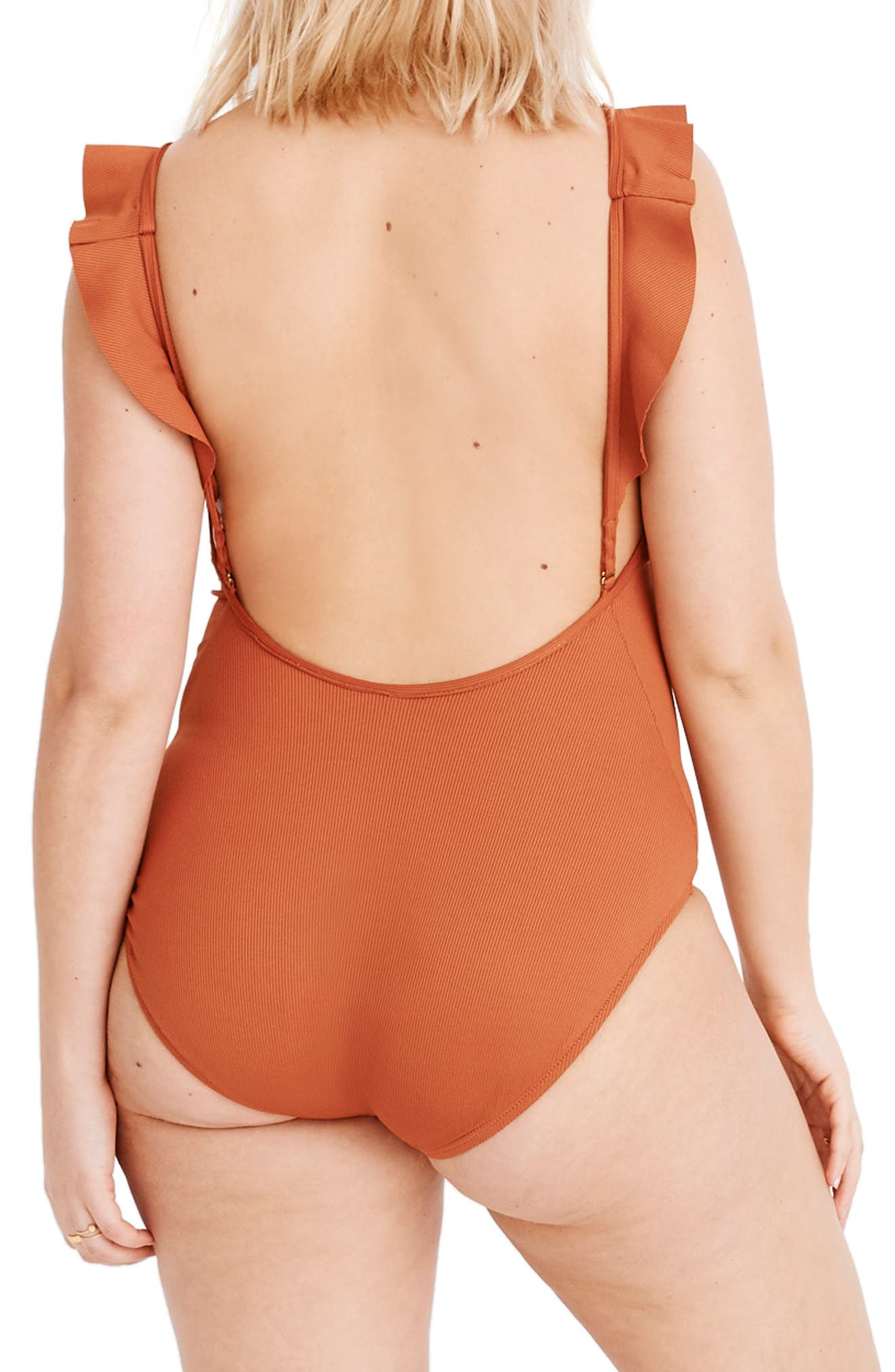 ,                             Second Wave Ribbed Ruffle-Strap One-Piece Swimsuit,                             Alternate thumbnail 6, color,                             AFTERGLOW RED