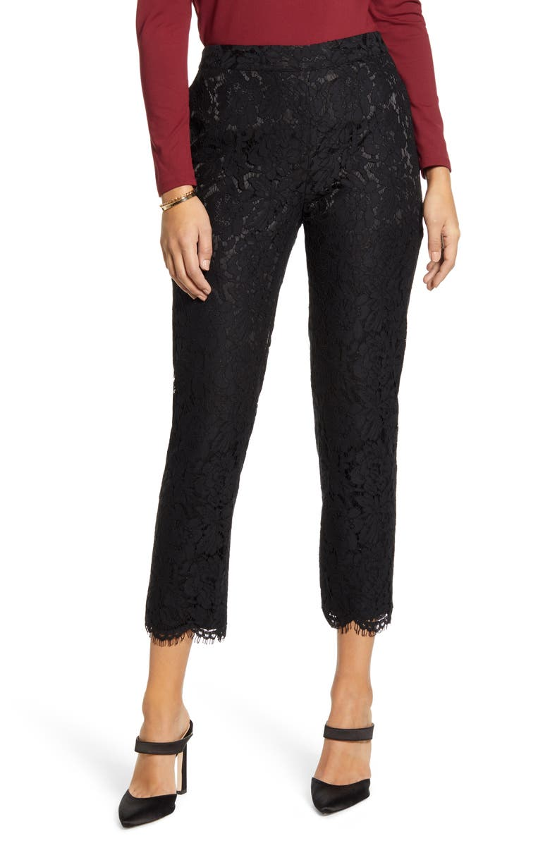 RACHEL PARCELL Lace Pants, Main, color, BLACK
