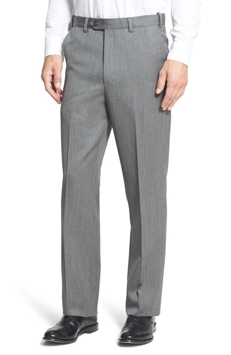 BERLE Self Sizer Waist Flat Front Classic Fit Wool Gabardine Trousers, Main, color, MEDIUM GREY