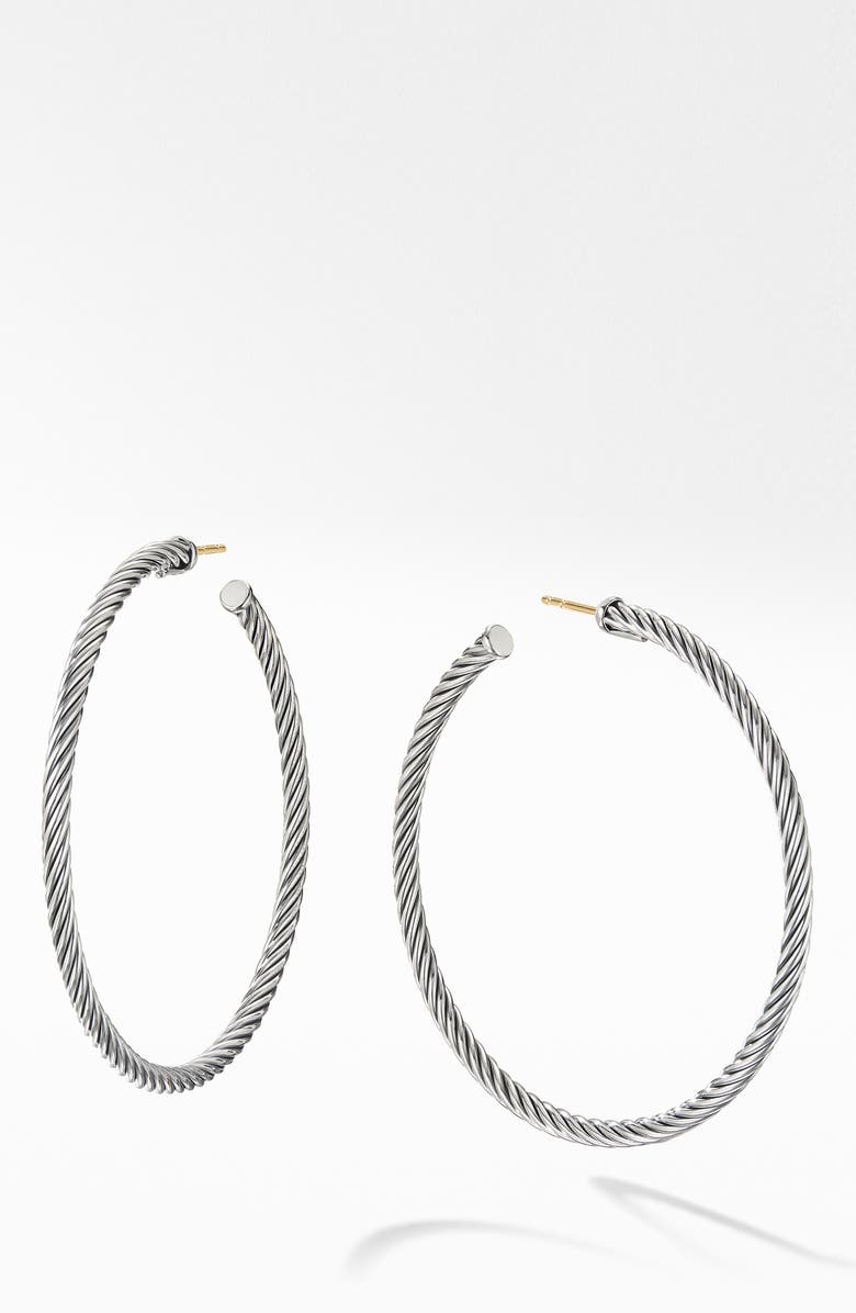 DAVID YURMAN Large Cable Hoop Earrings, Main, color, SILVER