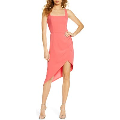 Harlyn Square Neck Asymmetrical Cocktail Dress, Pink