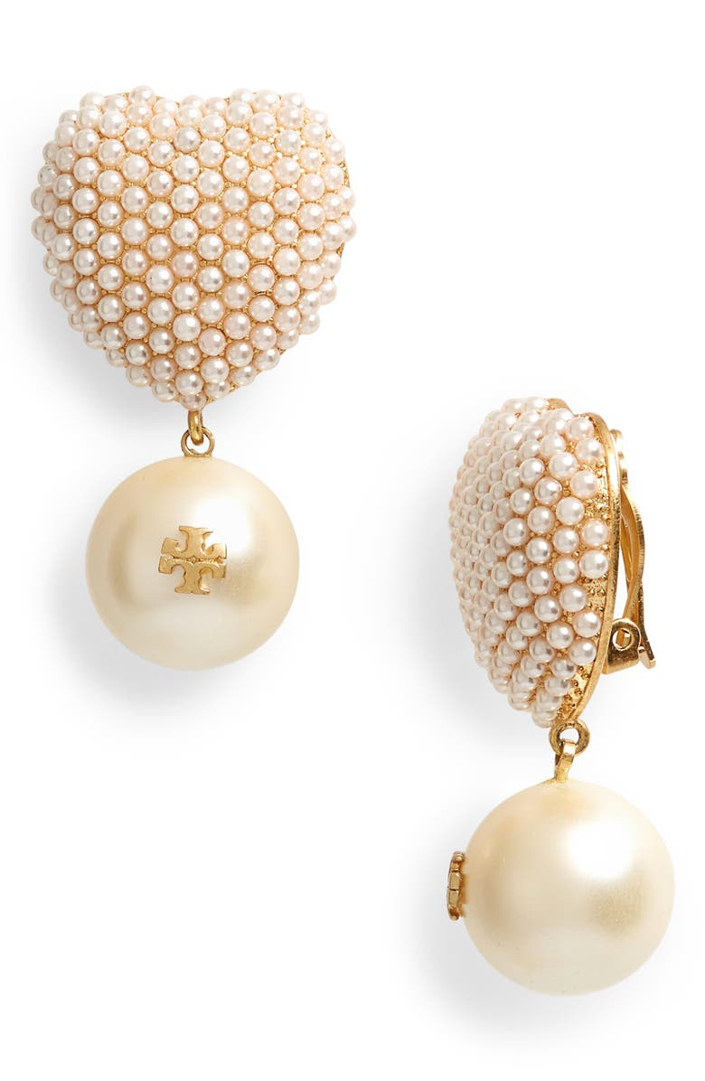 TORY BURCH Imitation Pearl Heart Charm Clip-On Earrings, Main, color, ROLLED BRASS / PEARL
