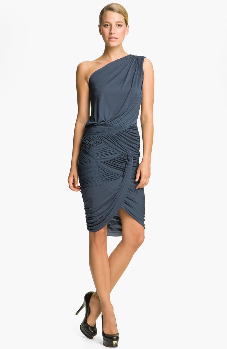 HALSTON HERITAGE Dresses Draped One Shoulder Dress, Main, color, 406