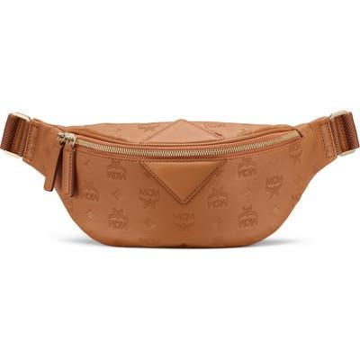 Mcm Fursten Monogram Embossed Leather Belt Bag - Brown