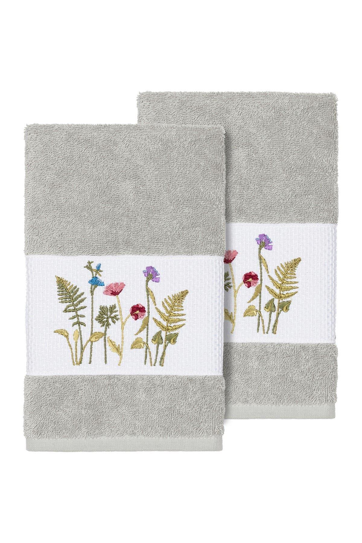 Image of LINUM HOME Serenity Embellished Hand Towel - Set of 2 - Light Grey