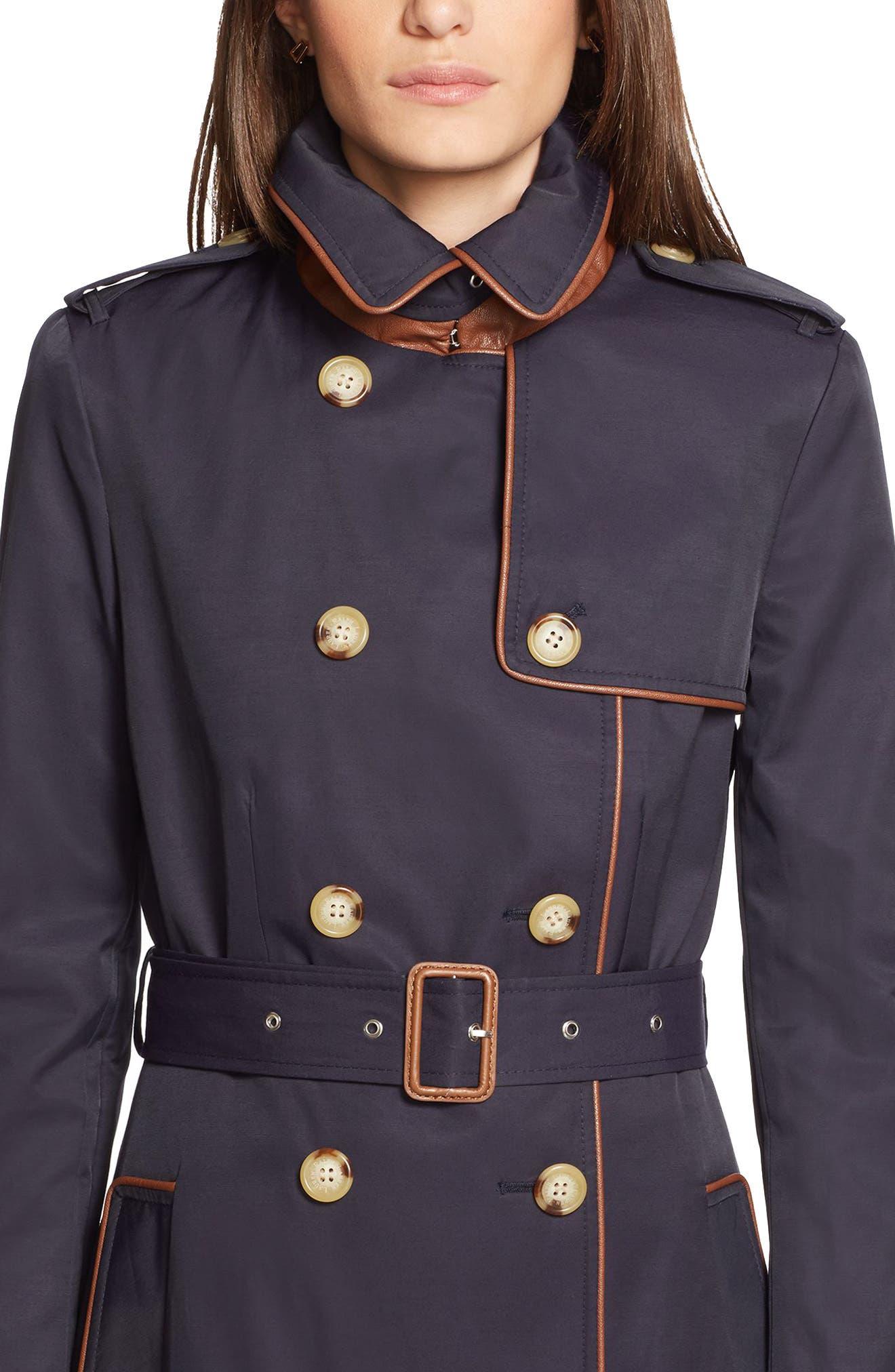 ,                             Faux Leather Trim Trench Coat,                             Alternate thumbnail 40, color,                             412