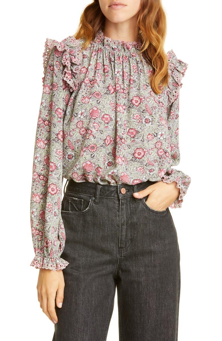 LA VIE REBECCA TAYLOR Camila Floral Shirred Top, Main, color, SOFT MINT COMBO