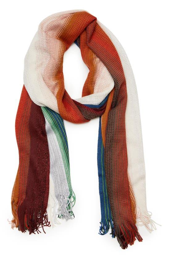 Missoni Zigzag Metallic Stripe Wool Blend Skinny Scarf In Multi Nude/ Green