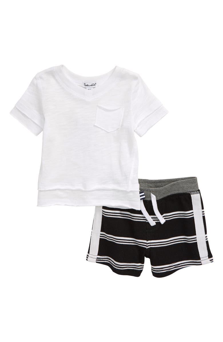 SPLENDID T-Shirt & Stripe Shorts Set, Main, color, WHITE VERANDA
