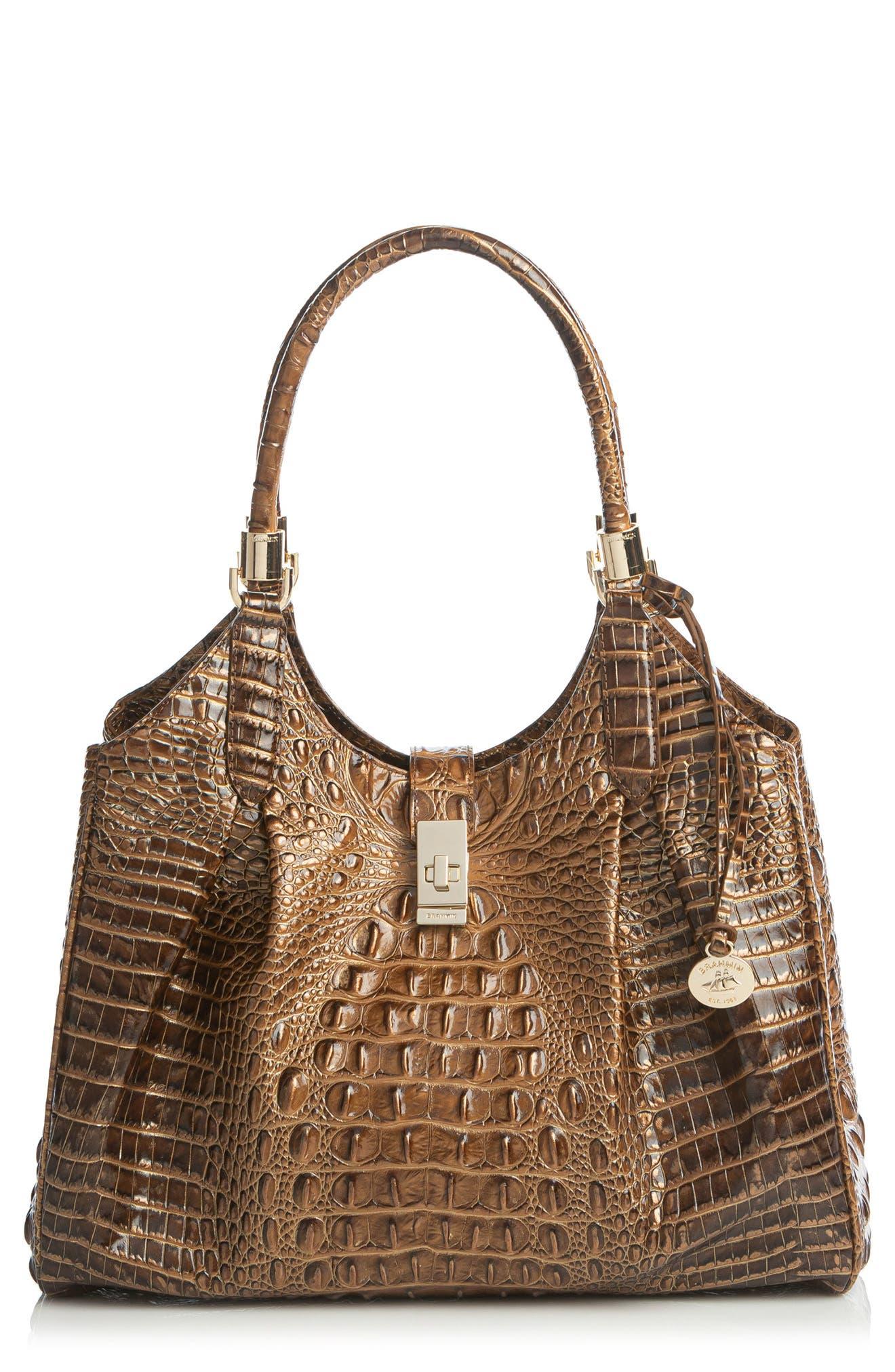 Celia Croc Embossed Leather Top Handle Bag