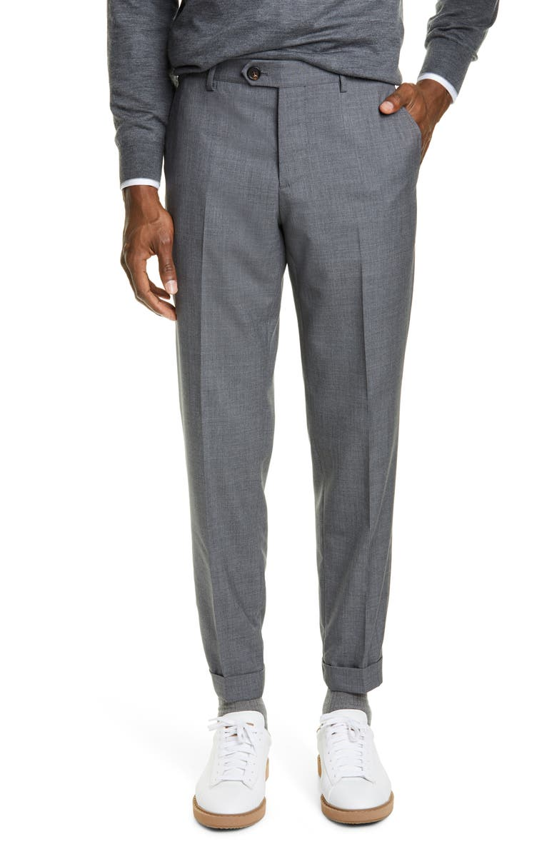 BRUNELLO CUCINELLI Flat Front Solid Wool Trousers, Main, color, LEAD GREY
