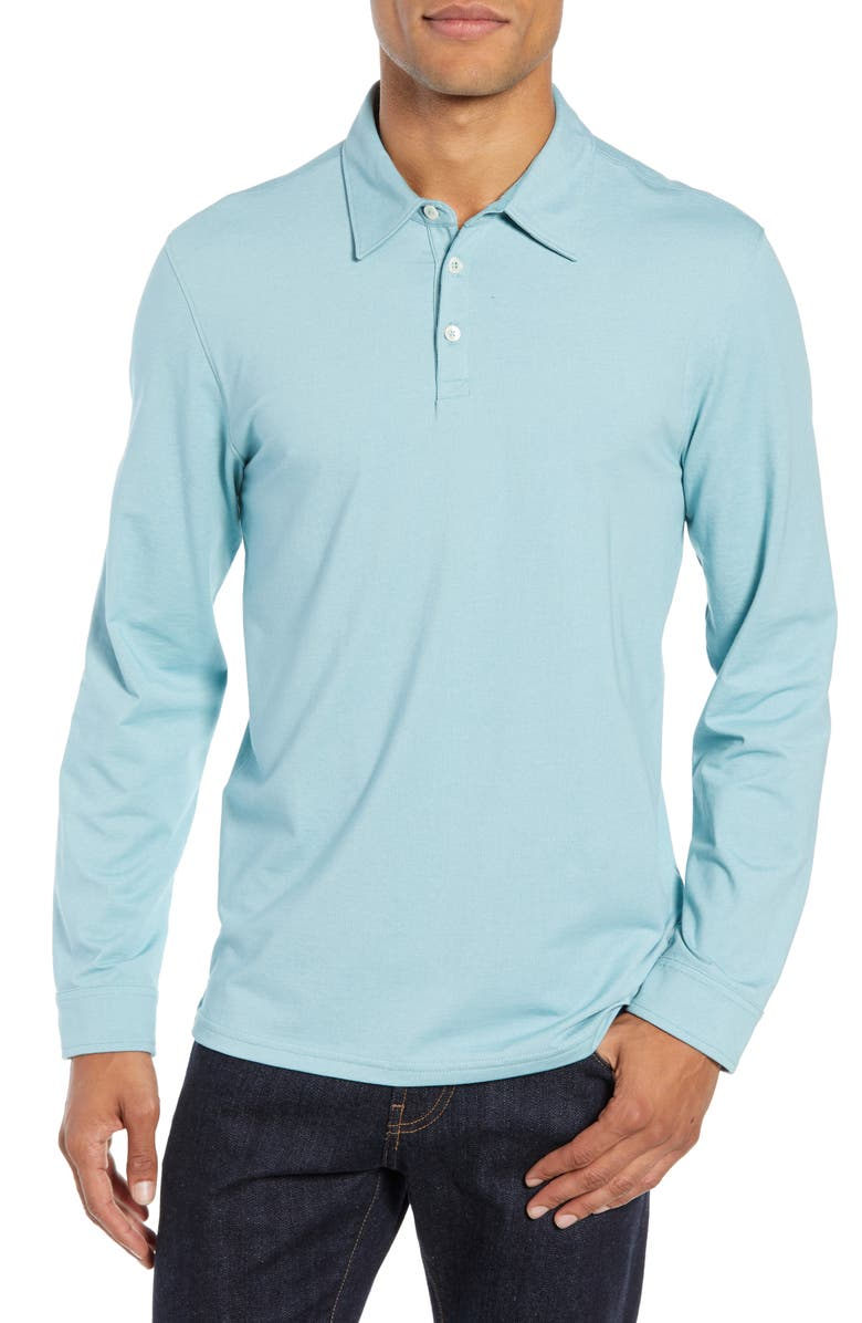 ZACHARY PRELL Benton Long Sleeve Polo, Main, color, TURQUOISE
