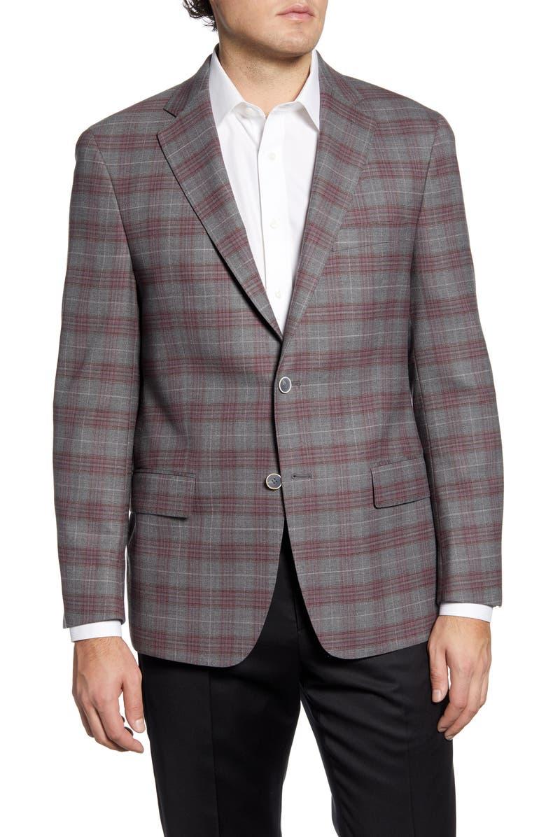 HART SCHAFFNER MARX Classic Fit Plaid Stretch Wool Sport Coat, Main, color, BURGUNDY/ BROWN
