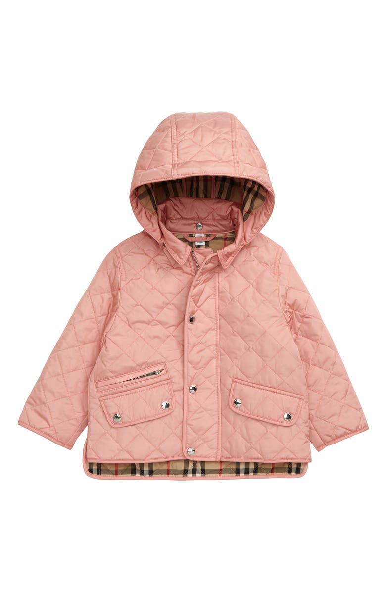 BURBERRY Lucca Waterproof Quilted Jacket, Main, color, DUSTY PINK