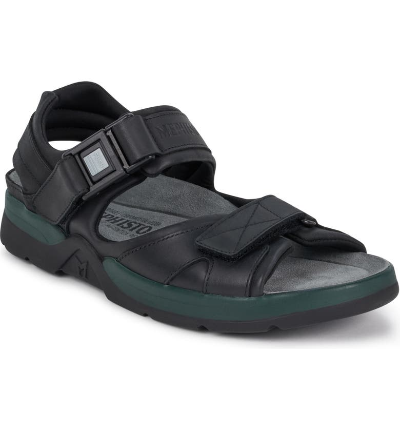 MEPHISTO 'Shark' Sandal, Main, color, BLACK WAXED LEATHER