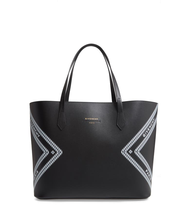 GIVENCHY Wing Leather Shopper, Main, color, BLACK/ WHITE