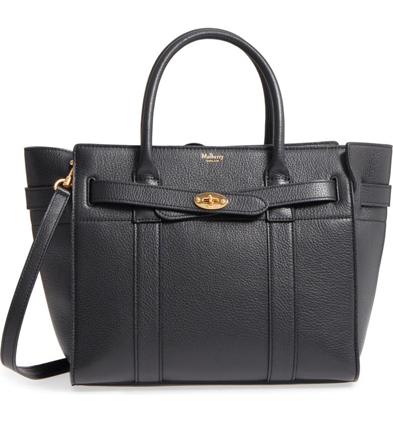 MULBERRY Small Zip Bayswater Classic Leather Tote, Main, color, BLACK