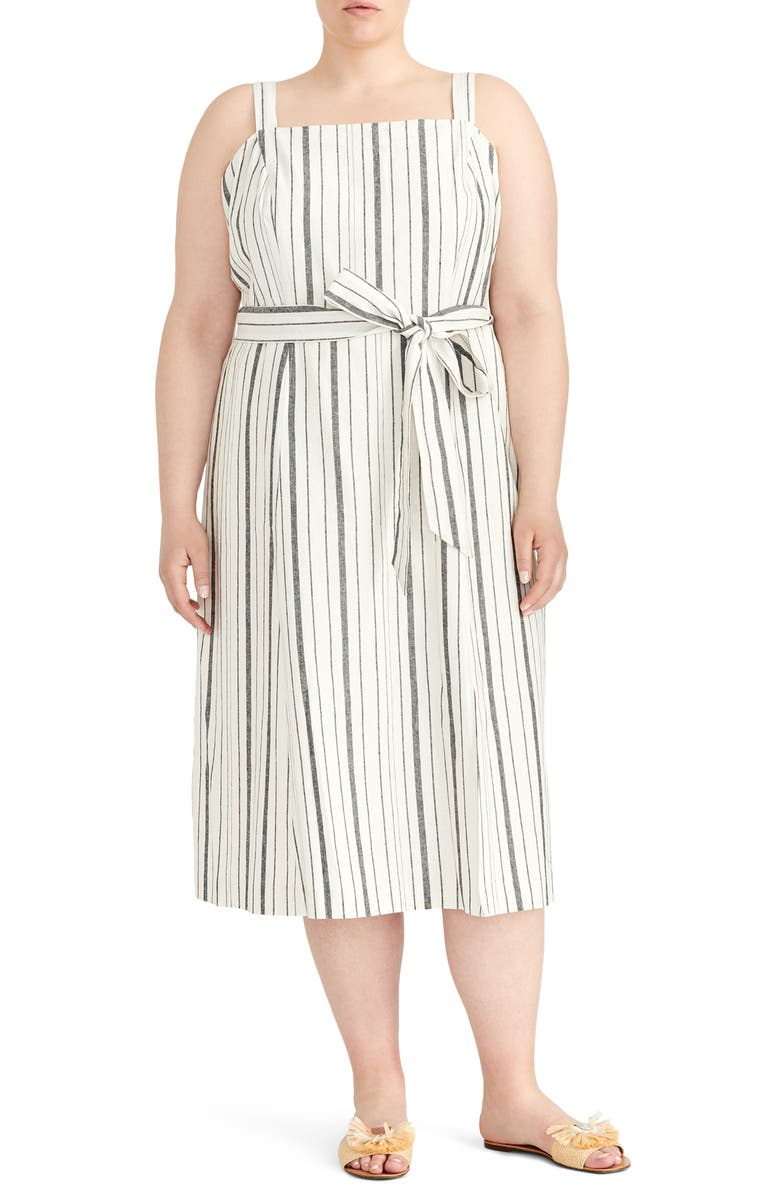 RACHEL ROY COLLECTION Stripe Sundress, Main, color, EGGSHELL BLACK COMBO