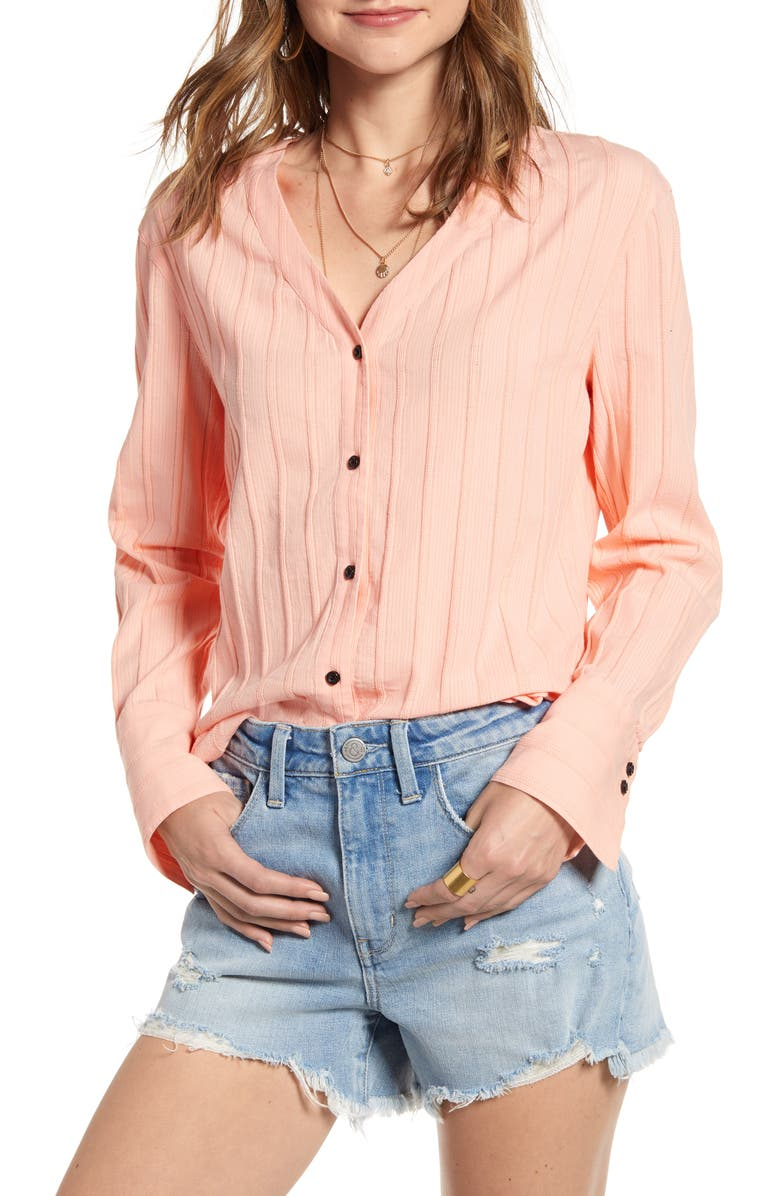 TREASURE & BOND Button Front Tie Back Top, Main, color, PINK BUD