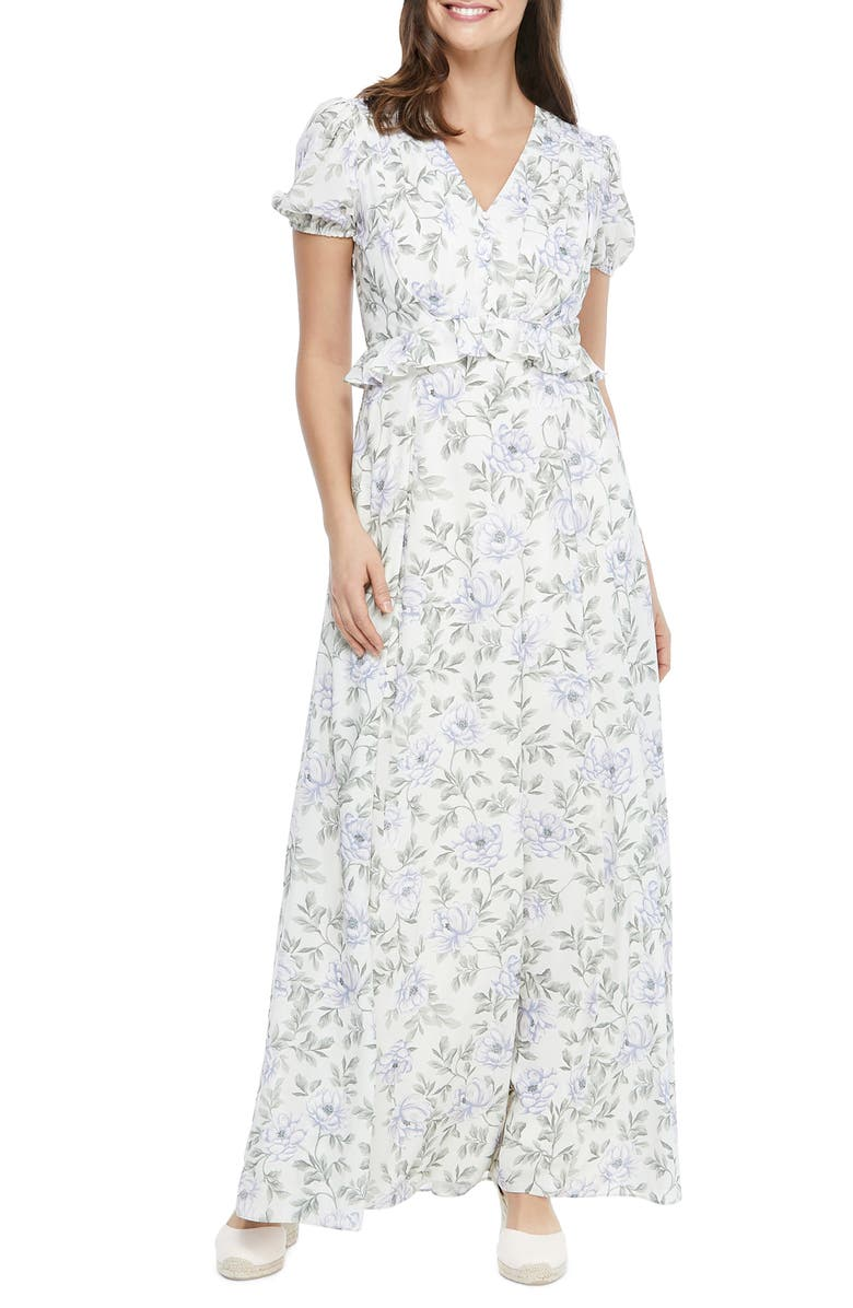 GAL MEETS GLAM COLLECTION s Floral V-Neck Maxi Dress, Main, color, CREAM/ PURPLE