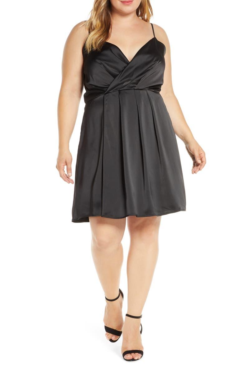 GIBSON x Hot Summer Nights Natalie Satin Faux Wrap Dress, Main, color, BLACK