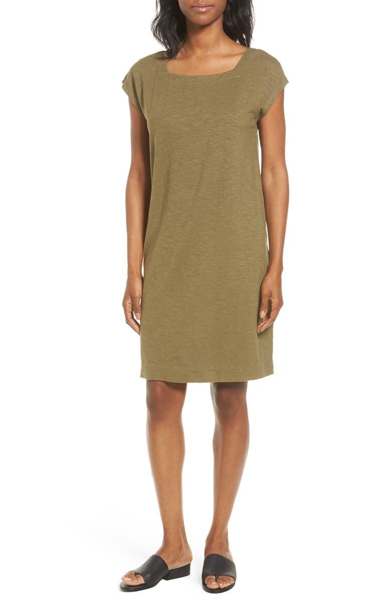 EILEEN FISHER Hemp & Organic Cotton Square Neck Shift Dress, Main, color, 301