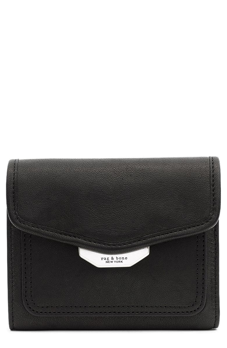 RAG & BONE Field Leather French Wallet, Main, color, BLACK