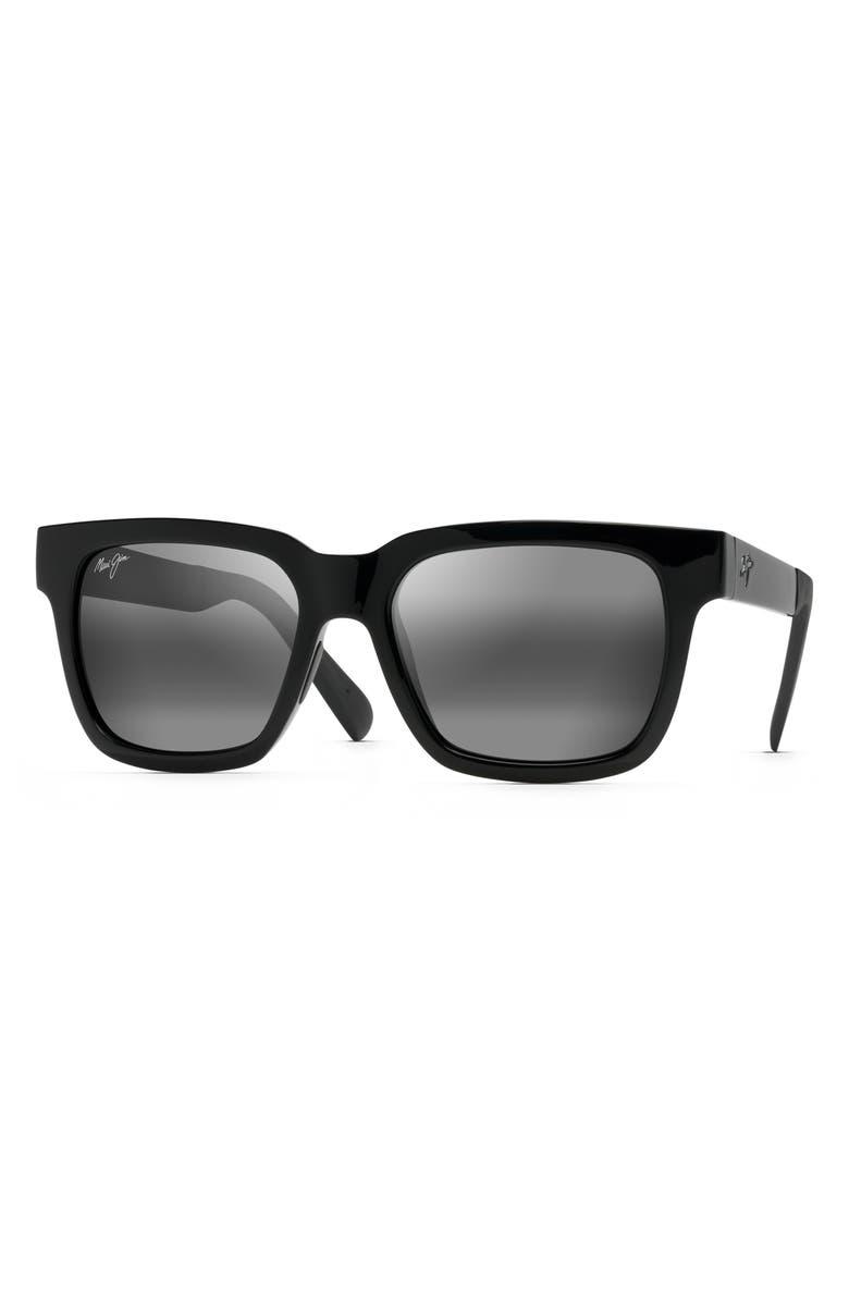 MAUI JIM Mongoose 54mm Polarized Sunglasses, Main, color, GLOSS BLACK