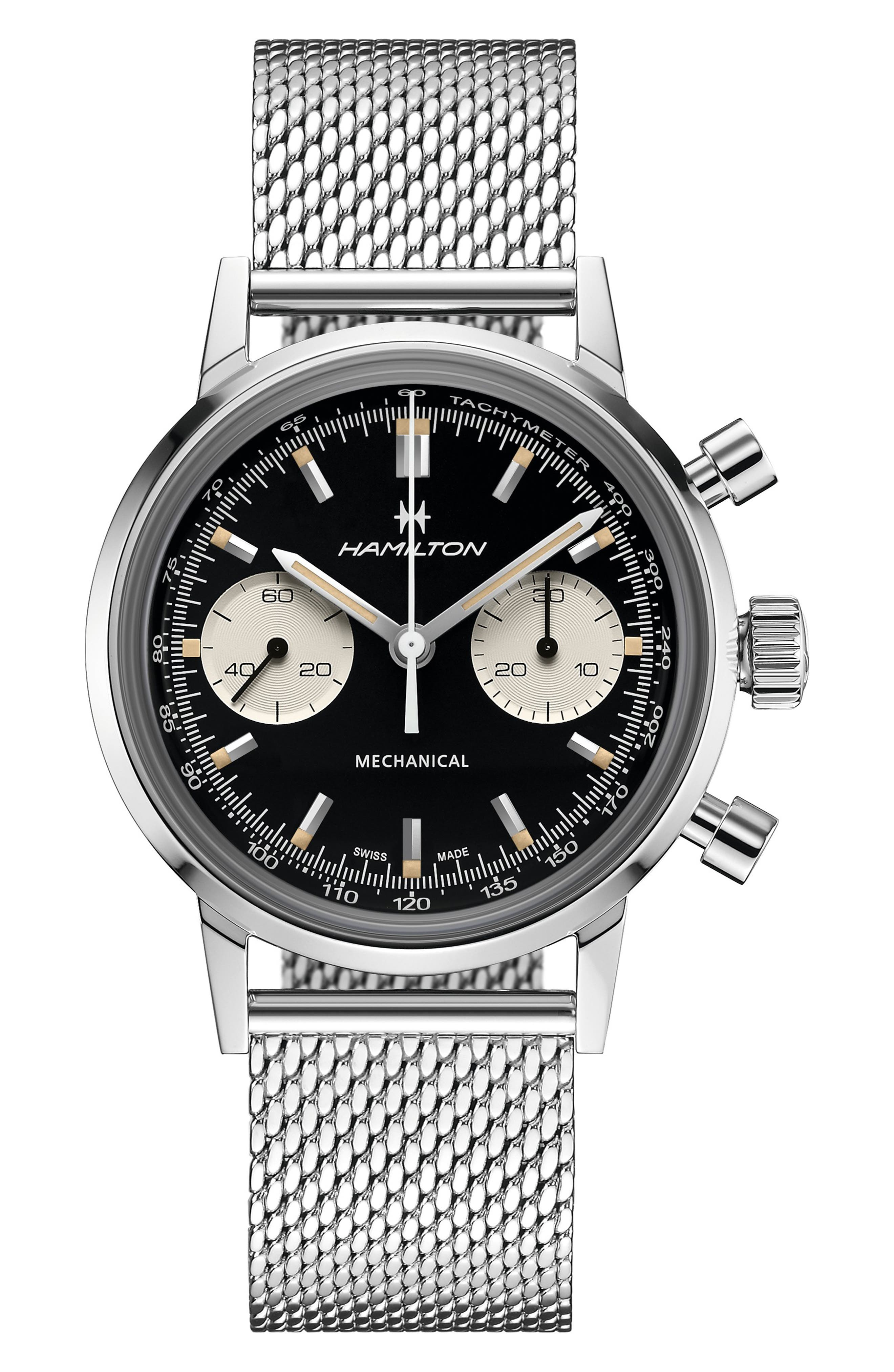 American Classic Intra-Matic Chronograph Mesh Strap Watch