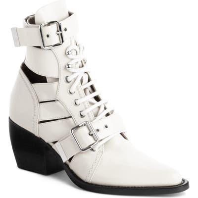 Chloe Rylee Caged Pointy Toe Boot - White