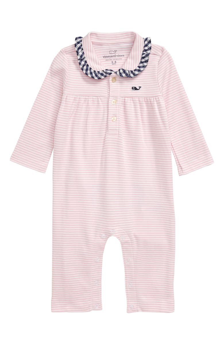 VINEYARD VINES Feeder Stripe Ruffle Romper, Main, color, FLAMINGO