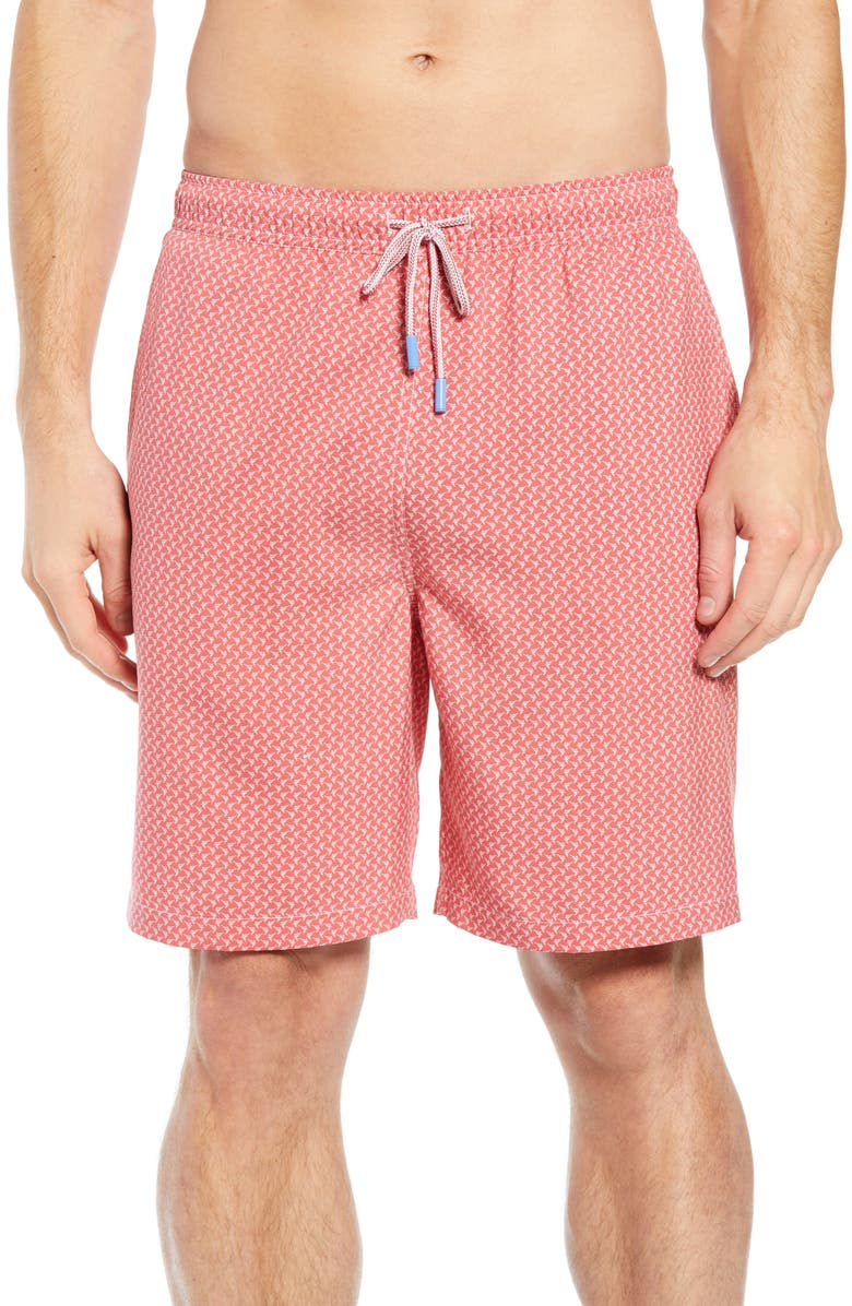 PETER MILLAR Bill Fish Swim Trunks, Main, color, CAPE RED