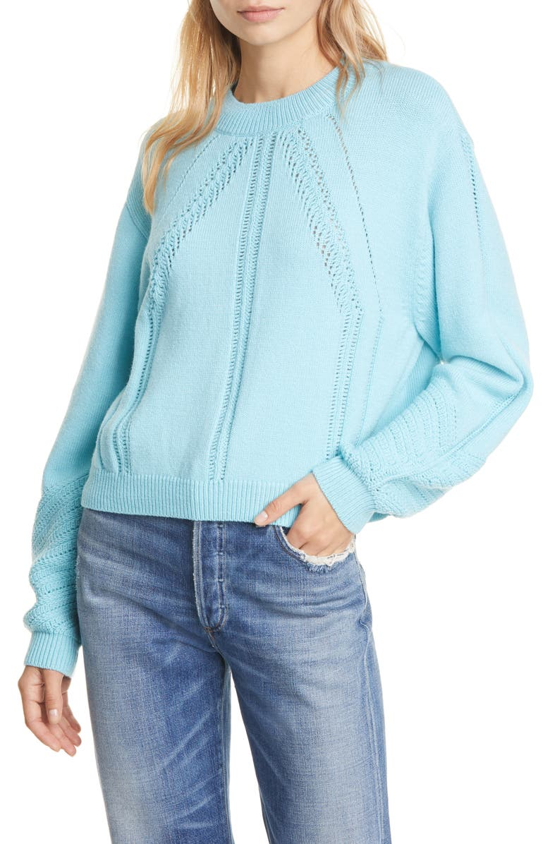CLUB MONACO Openwork Detail Wool Blend Sweater, Main, color, TURQUOISE