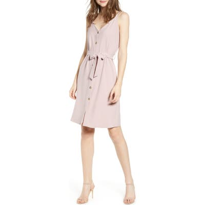 Bishop + Young Belted Button Dress, Purple