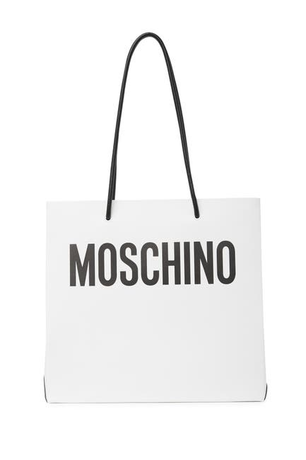 Image of MOSCHINO Logo Leather Tote Bag